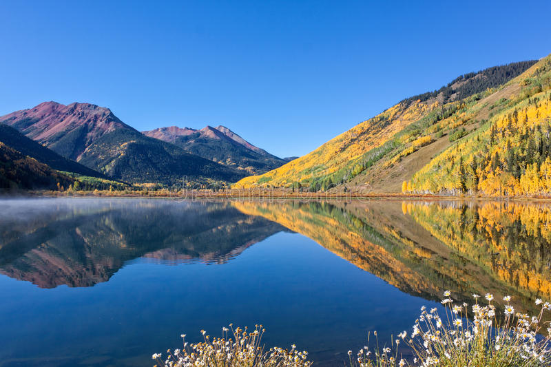Mountain Lake Landscape Reflection in Autumn royalty free stock photo