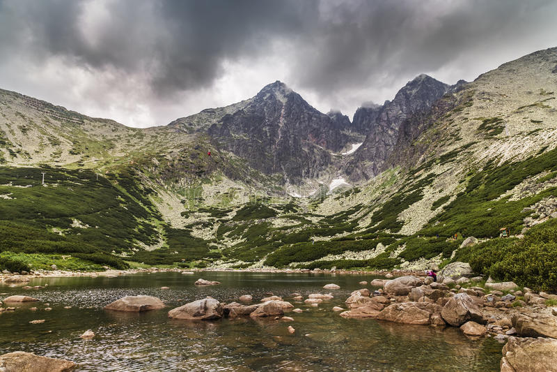 Mountain lake and Lomnica Peak royalty free stock image