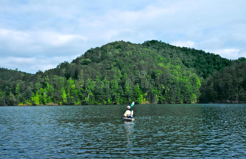 Download Mountain Lake / Man Kayaking Stock Photo - Image: 9389428