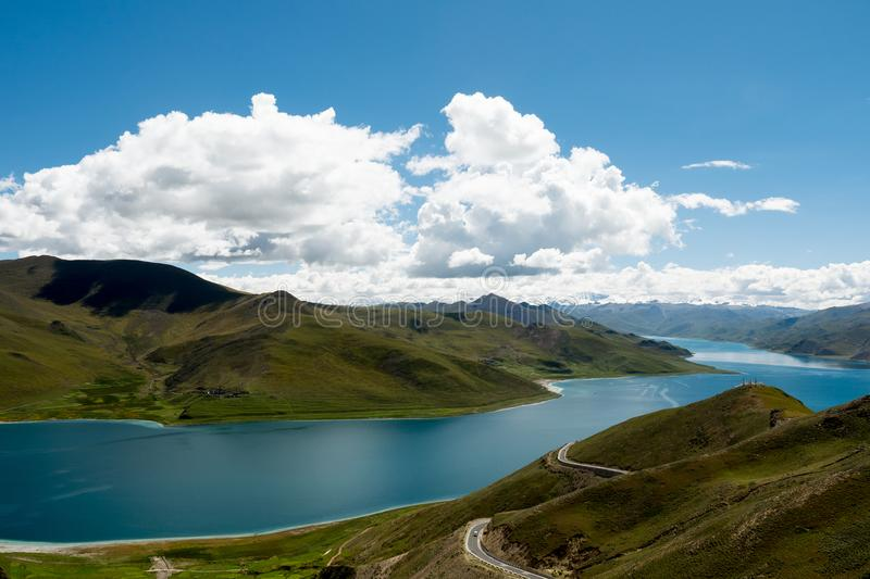 Mountain Lake Yamdrok Himalayas Tibet stock photos