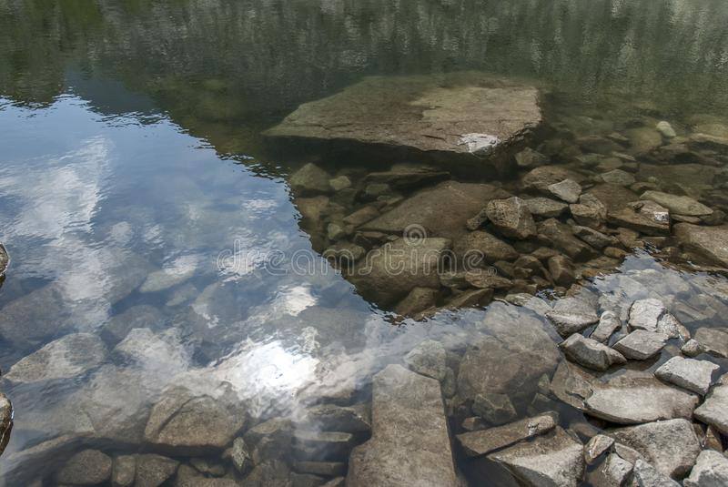 Mountain lake mirror reflection and big grey stones royalty free stock images
