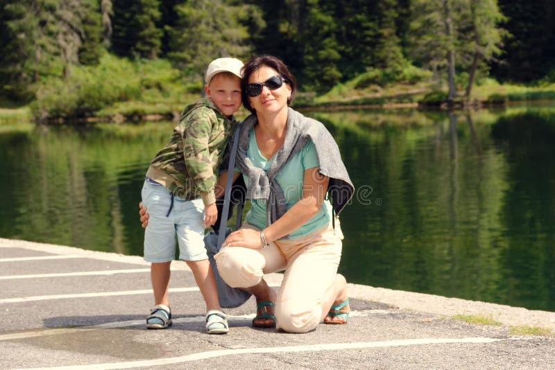 Mountain Lake Misurina. Beautiful tourist spot. female tourist royalty free stock photos