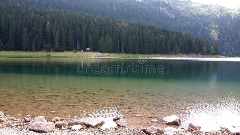 Mountain lake in Montenegro. Calm lake water. stock photo