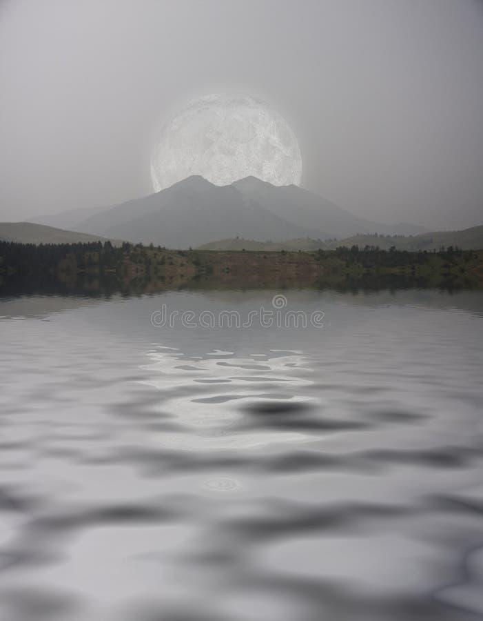 Download Mountain Lake stock illustration. Illustration of moonlight - 31590092