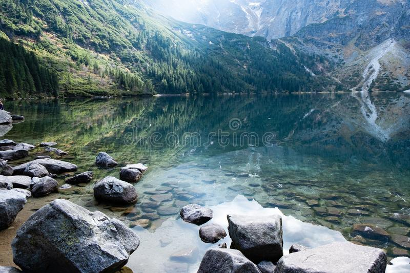Mountain lake Morskie Oko in Tatra Mountains, Poland. Famous polish landscape - mountain lake Morskie Oko, Tatra Mountains, Poland royalty free stock photos