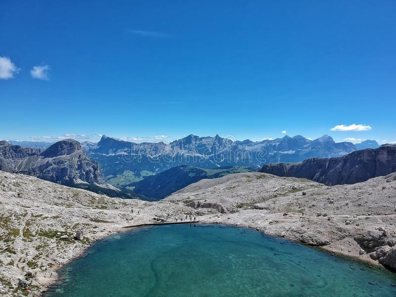 The mountain lake with mountain views. Photographed by a drone royalty free stock images