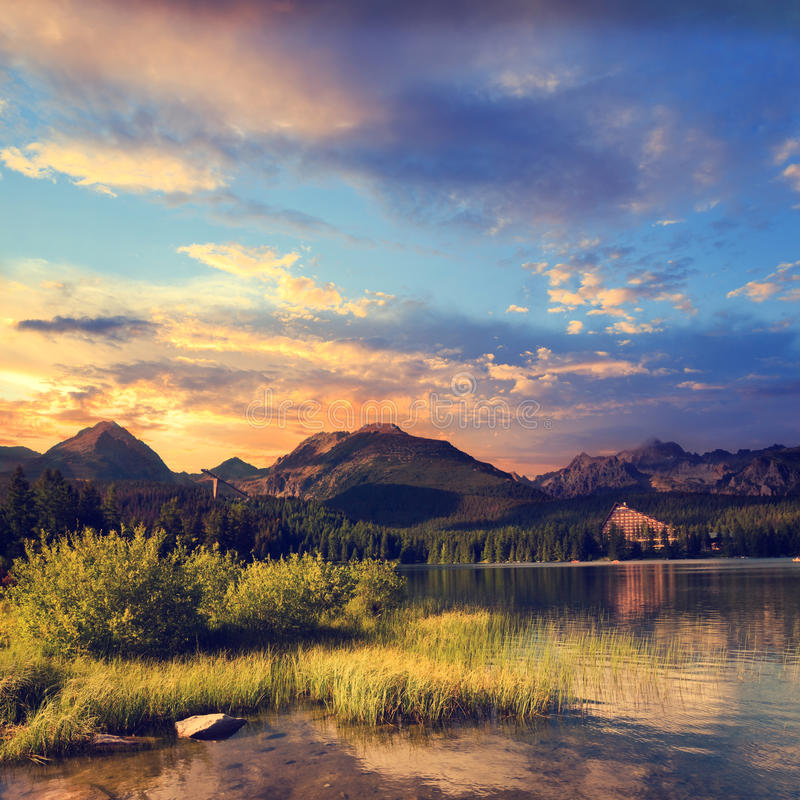 Mountain lake in National Park High Tatra, Strbske pleso stock photography