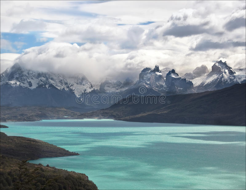 Torres del Lake, Patagonia, Chile stock photos