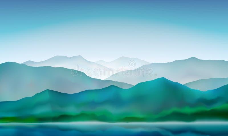 Mountain lake peaceful landscape, misty calm natural background. Blue mountain hills landscape. Vector illustration. Mountain lake peaceful landscape, misty calm vector illustration