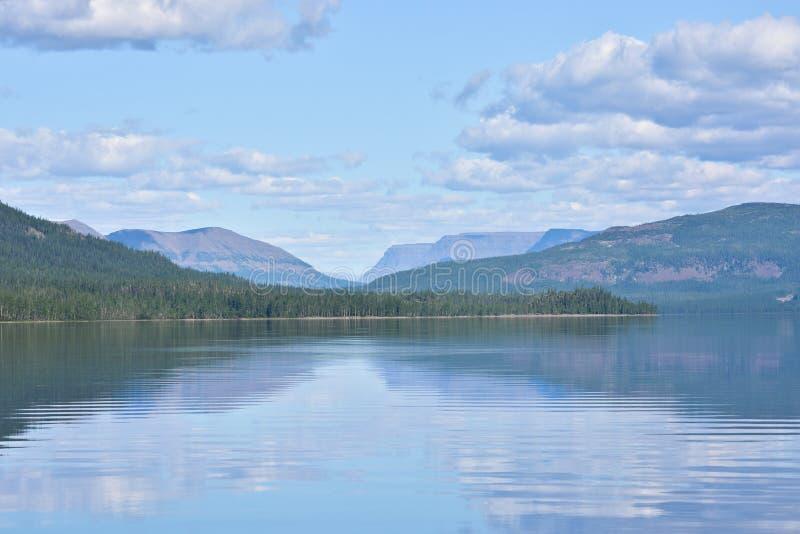 Mountain lake in the Putorana plateau stock photos