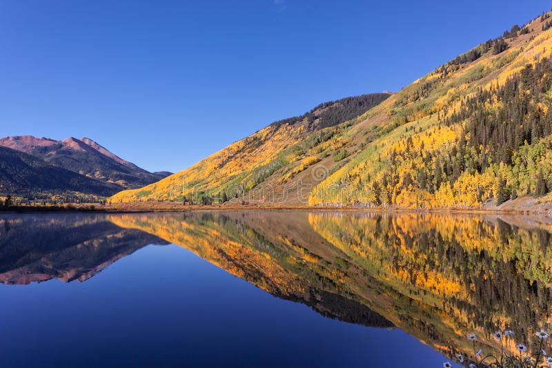 Mountain lake Reflection in Fall stock images