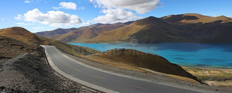 Mountain Lake road Panoramic stock images