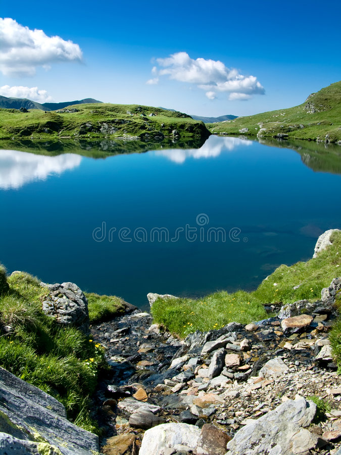 Mountain lake in Romania stock image