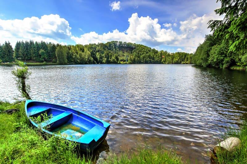 Mountain lake in Romania stock photo