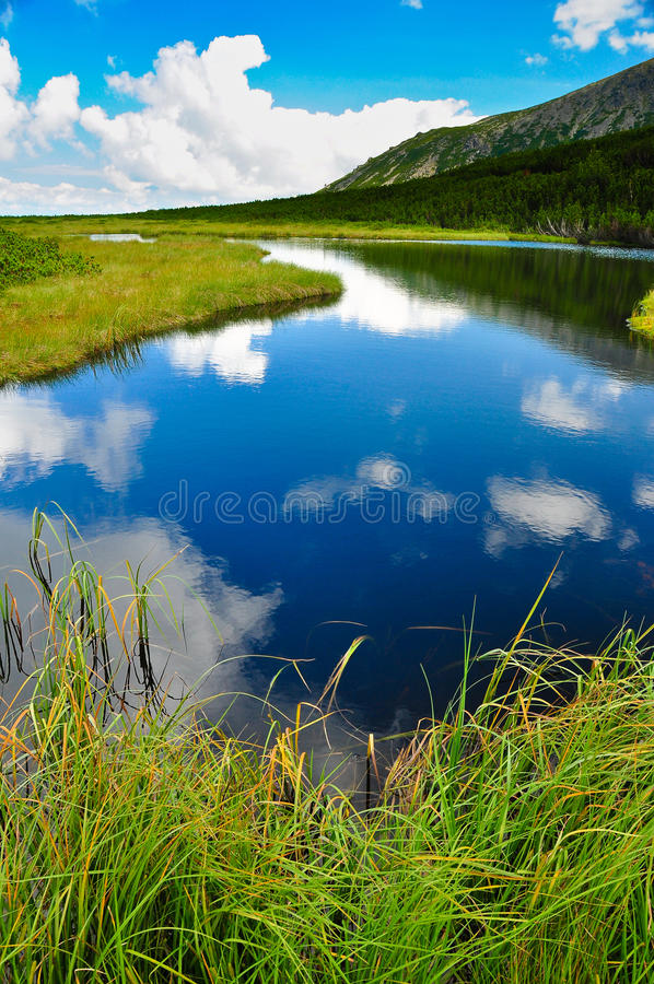 Free Mountain Lake Sky And Clouds Reflection Royalty Free Stock Photography - 18387417