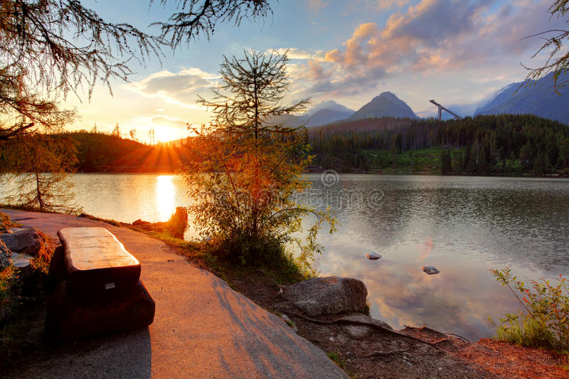 Mountain lake in Slovakia at sunset - Strbske pleso stock photos