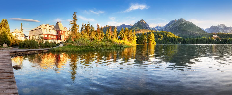 Mountain lake Strbske pleso and High Tatras national park, Slovakia - landscape stock images