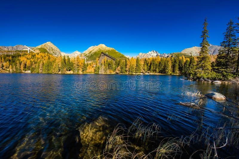 Mountain lake Strbske pleso in National Park High Tatra, Slovakia, Europe stock photo