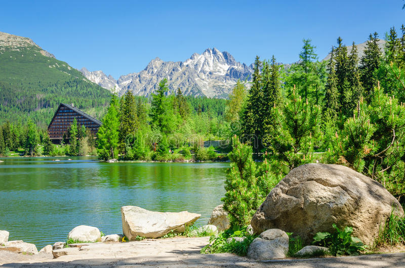 Mountain lake Strbske Pleso in Tatras Slovakia royalty free stock photos