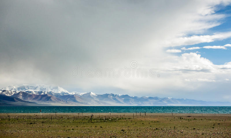 Mountain lake at Tibet, China royalty free stock photo