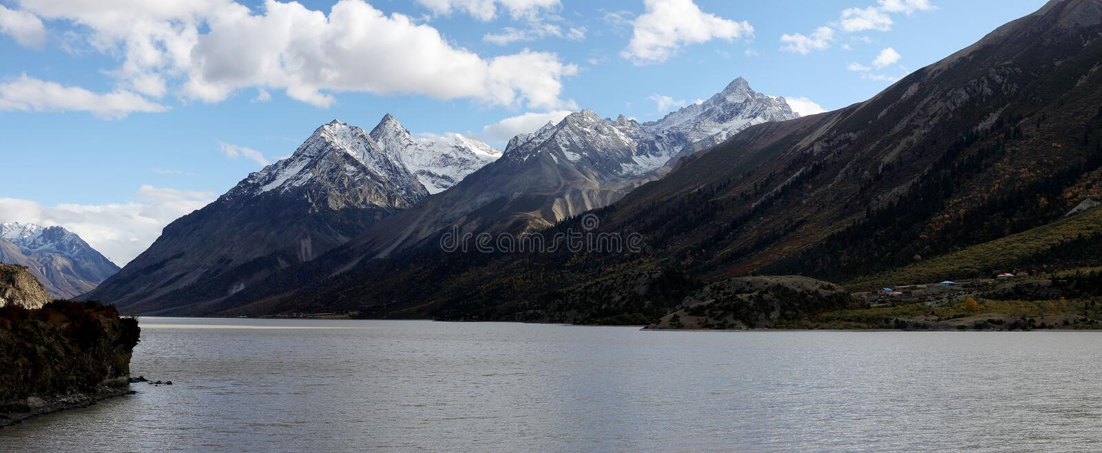 Mountain and lake in tibet stock photo