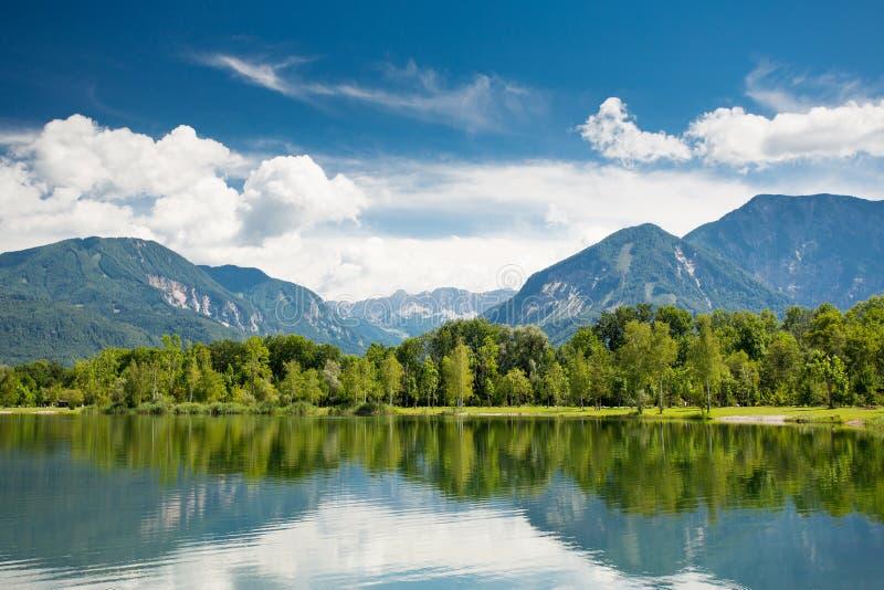 Mountain lake view. Ferlacher Badesee. Mountain lake view. Ferlacher Badesee in Austria stock photo