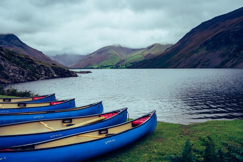 Canoe boats on Wastwater Lake in the Lake District UK royalty free stock images