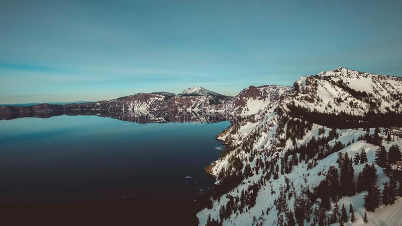 Mountain lake in winter stock image