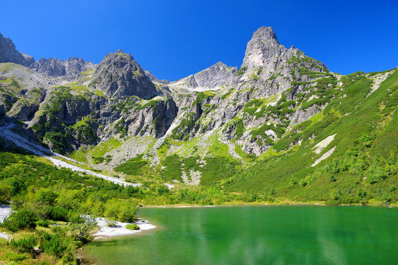Mountain lake Zelene pleso in National Park High Tatra. Slovakia, Europe. royalty free stock photos
