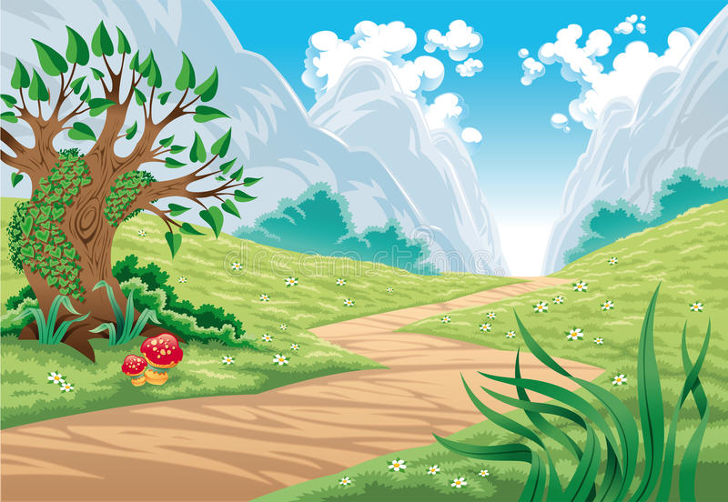 Mountain landscape. Vector cartoon and color illustration