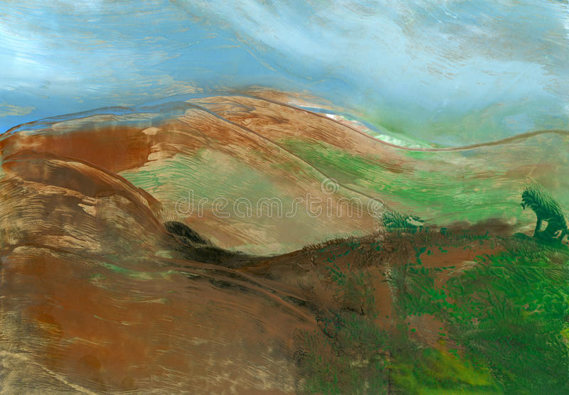 Mountain landscape, abstract painting. For backgrounds or textures royalty free illustration