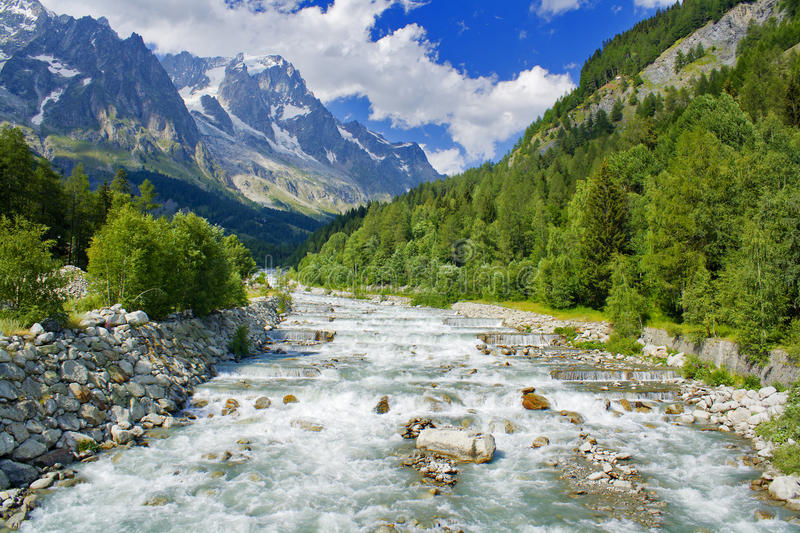 Mountain landscape on alps with river stock images