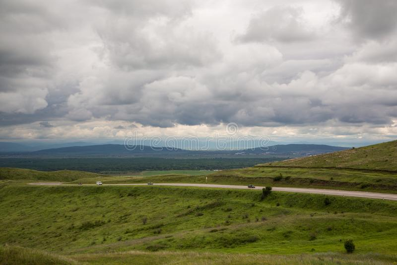 In the mountains before the storm. Mountain landscape in anticipation of thunderstorms royalty free stock photography