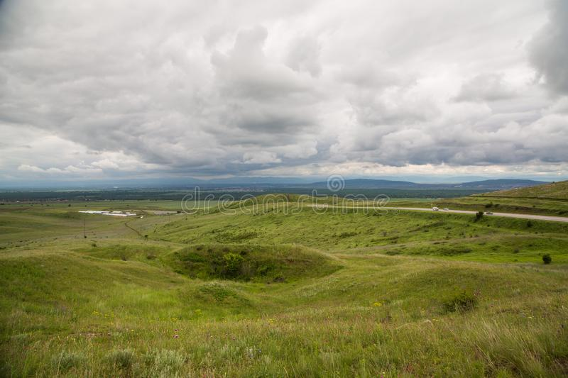In the mountains before the storm. Mountain landscape in anticipation of thunderstorms royalty free stock photo
