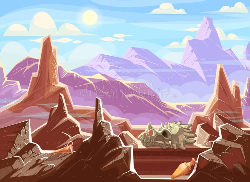 Mountain landscape with archaeological fossils. Cartoon vector illustration. Red-brown mountains under blue sky, among fragments of rocks ancient artifacts vector illustration