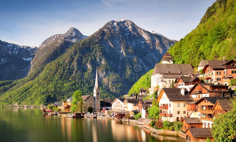 Mountain landscape in Austria Alp with lake, Hallstatt.  stock photos
