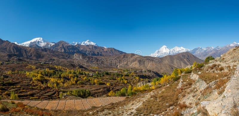 Mountain landscape in autumn. Annapurna circuit trek in Nepal royalty free stock photo