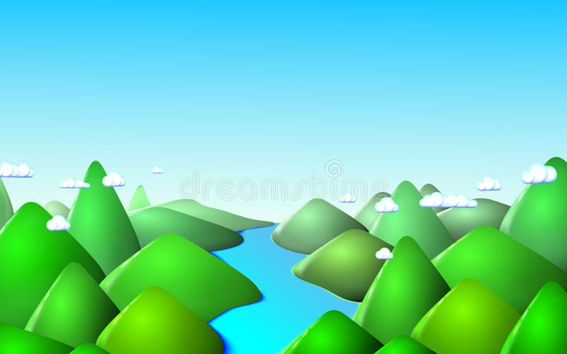 Mountain landscape background. Morning at Mountains landscape with river. Green peaks. Vector illustration Eps 10. Mountain landscape background. Morning at royalty free illustration