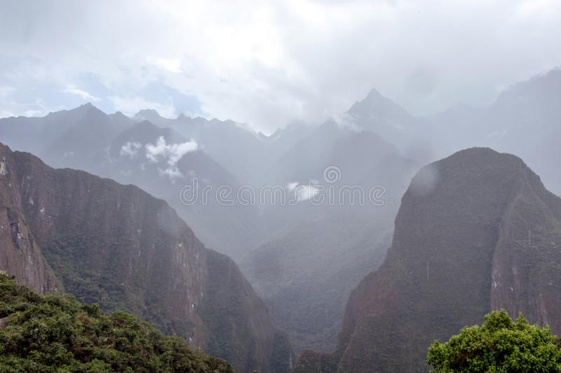 Mountain landscape background with peruvian Andes mountains in the clouds. Mountain background with peruvian Andes mountains in the clouds, green landscape of stock image