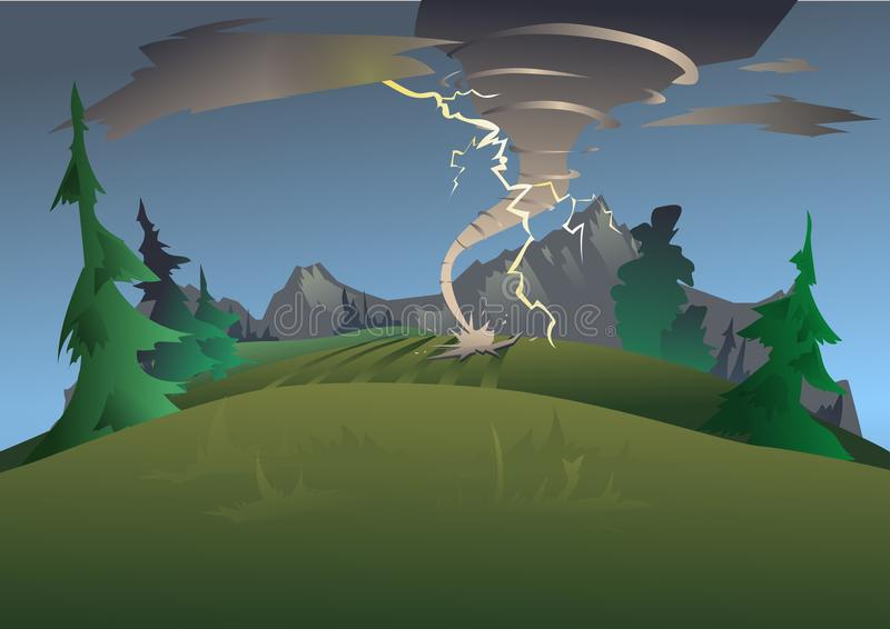 Mountain landscape in bad weather. Tornado, hurricane and lightning. Vector illustration. stock illustration