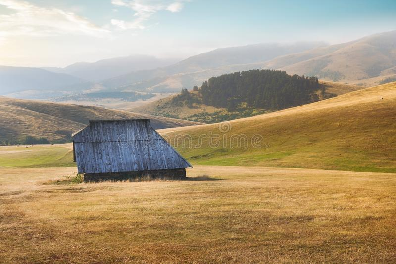 Mountain landscape in beautiful late summer or fall  environment, Zlatibor, Serbia royalty free stock photo