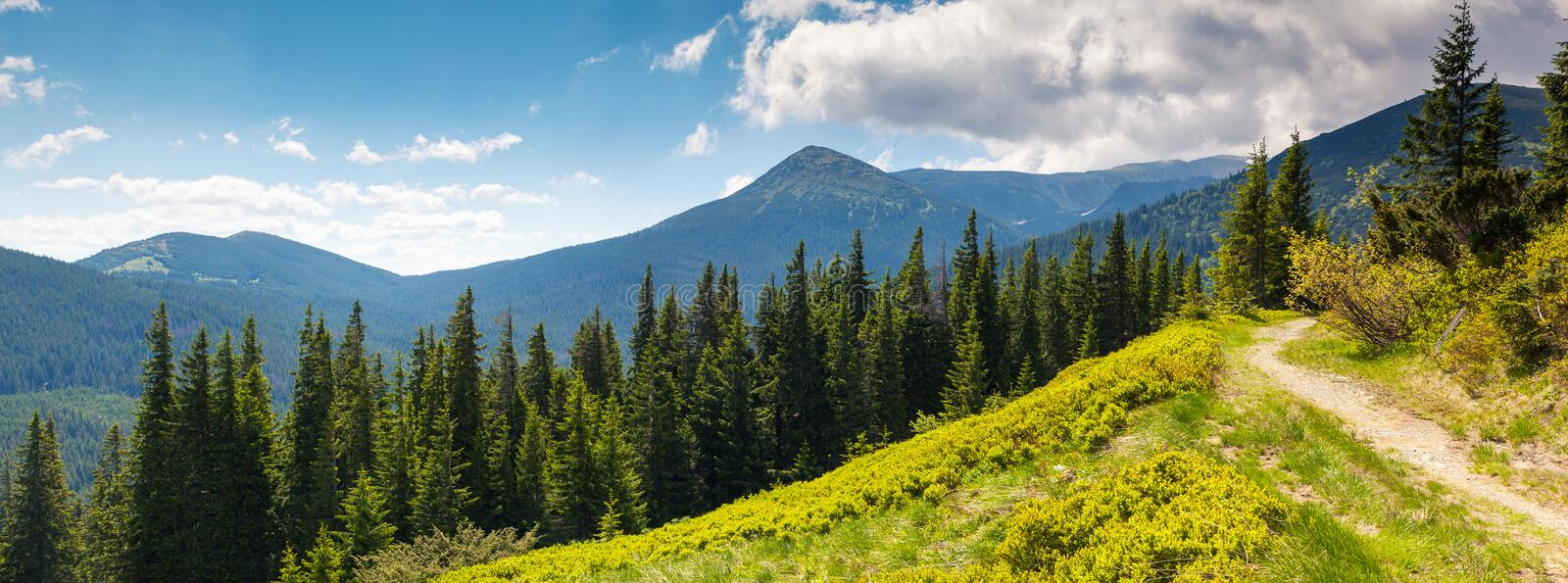 Mountain landscape. Beautiful sunny day is in mountain landscape. Carpathian, Ukraine, Europe. Beauty world stock image