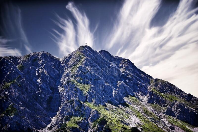 Mountain landscape with blue skies stock images