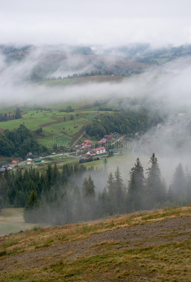 Mountain landscape. Chalets in the mountains. Mountain landscape stock photography