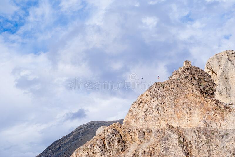 Mountain landscape with cloudy sky on bockground, stock photo royalty free stock photography