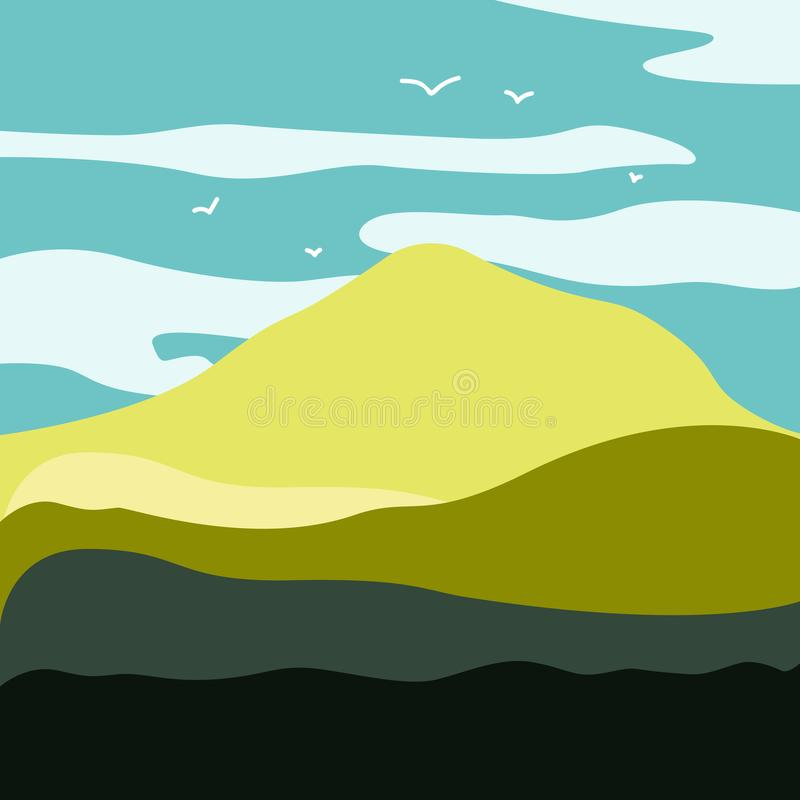 Mountain landscape with a dawn, an elongated format for the convenience of using it as a background. stock illustration