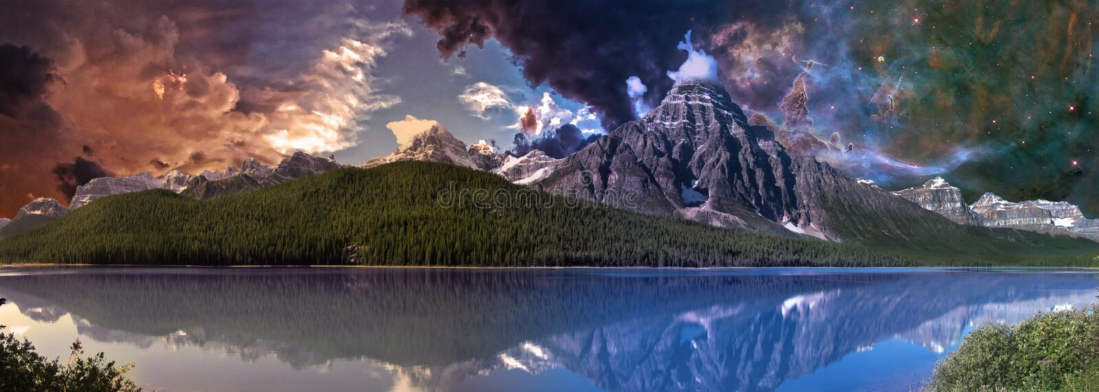 Mountain landscape at dawn stock photo