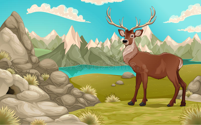Mountain landscape with deer stock illustration