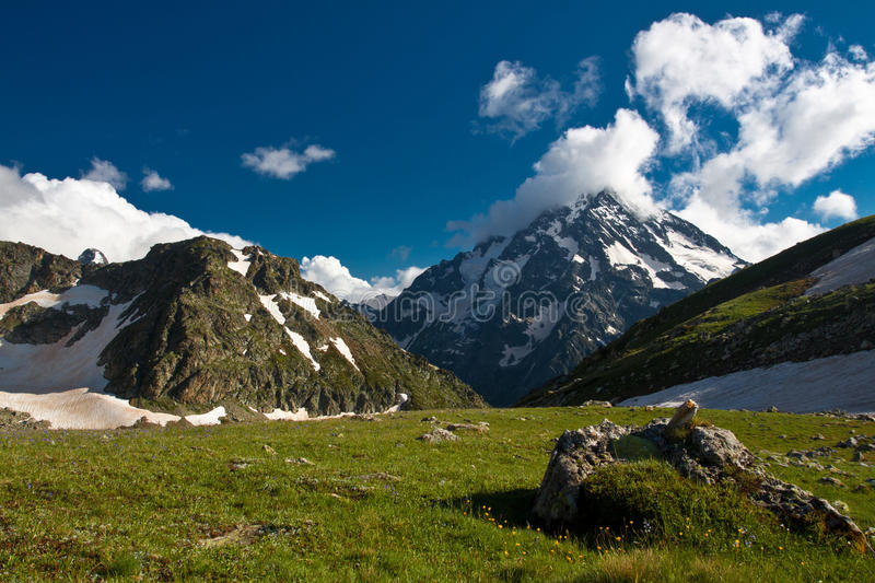 Mountain landscape with high mountain. royalty free stock photography