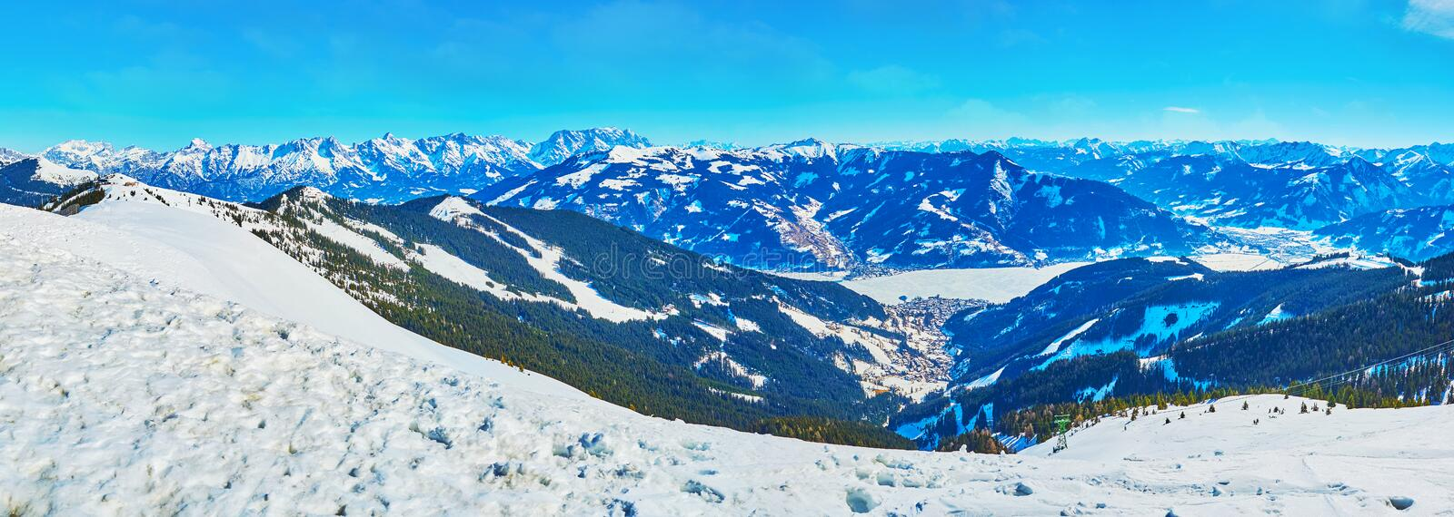 Mountain landscape with highland Zeller See, Schmitten mount, Zell am See, Austria royalty free stock photography